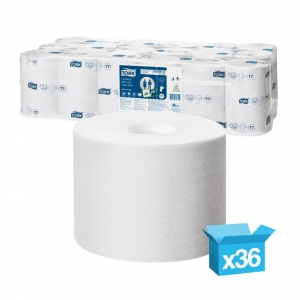 Tork 2ply white Coreless mid-size toilet rolls