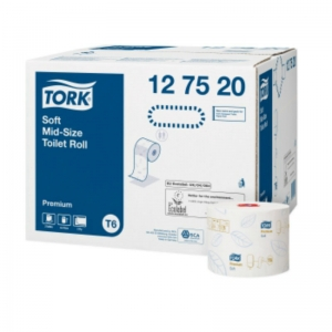 2ply white Tork Soft Mid-size toilet rolls box 27