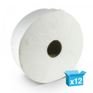 "2ply white toilet rolls 200m Mini Jumbo 2¼"" core Recycled"