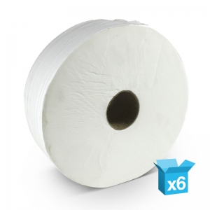 "2ply white toilet rolls 400m Jumbo 2¼"" core Recycled tissue"