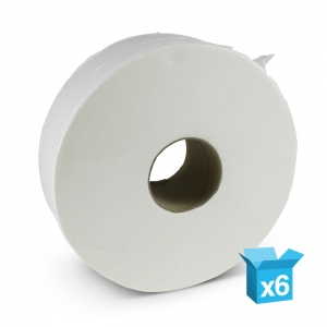 "2ply white toilet rolls 400m Jumbo 3"" core"