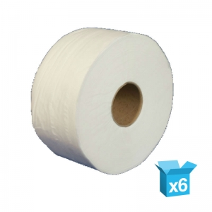 "2ply white toilet rolls 300m Jumbo 3"" core"