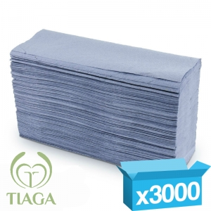 1ply blue z-fold Tiaga hand towels
