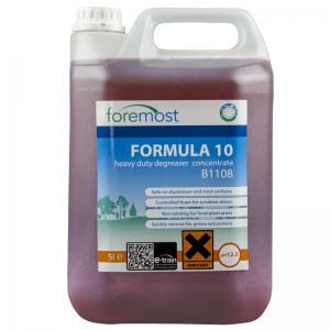 B1108 Formula 10 heavy duty degreaser - non tainting Emulsifies animal fats, grease, blood and protein with ease Contains effective detergents for soil penetration Non Tainting Ideal Food Plant cleaner Aluminium Safe Controlled foam, no excessive rinsing Selden, HD Degreaser, F052 5lt