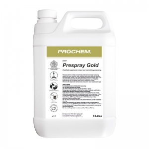 B2107 Prochem Prespray Gold A high concentrate professional strength pre-spray cleaner for wool, wool-mix, stain resistant nylon and other pH sensitive, wet-cleanable carpets, rugs and upholstery fabrics.WoolSafe approved maintenance product for wool carpets and rugs.Amber liquid with floral lemon fragrance.  5lt