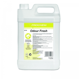 B2124 Prochem Odour Fresh Professional formula with high quality deodorisers which can be added to any carpet, fabric or general cleaning solution.Clear liquid with floral fragrance.  5lt