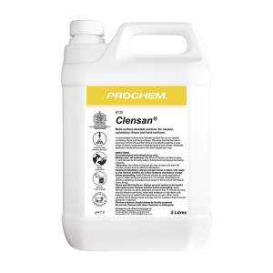 B2125 Prochem Clensan 5lt Multi-surface biocidal sanitiser for carpets, upholstery, floors and hard surfaces.
