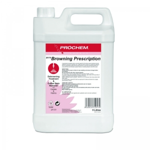B2175 Prochem Browning Prescription Special formula for treating jute browning and large areas of water damage staining on carpets.Contains anti-browning and anti-yellowing agents.Dilute with water and apply by sprayer or add to B105 Fibre Shampoo for rotary brush application, then extract with water.Clear liquid.  5lt