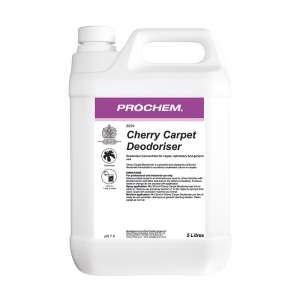 B2224 Prochem Contract Carpet Deodoriser A powerful and pleasantly perfumed deodoriser formulated to destroy unpleasant odours in carpets.Can be diluted with water and pre-sprayed onto carpet or added to extraction or shampoo cleaning solutions.Pink liquid with cherry fragrance.  5lt