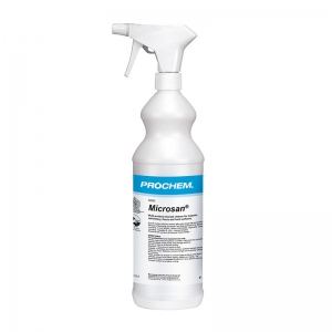 B2501 Prochem Microsan 1 litre Multi-surface biocidal cleaner for carpets, upholstery, floors and hard surfaces.Effective against bacteria including MRSA and viruses including Hepatitis B and HIV.Approved to EN1276.Clear liquid with apple blossom fragrance.  1lt