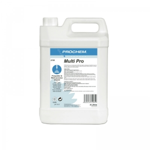B2709 Prochem Multi Pro Professional general purpose pre-spotter and traffic lane pre-spray for carpets.Excellent for draught marks and greasy areas.Apply by sprayer to all heavily soiled areas before machine cleaning.Turquoise blue liquid with citrus mint fragrance.  5lt