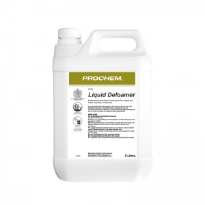B2760 Prochem Liquid Defoamer High quality professional anti-foam concentrate for extraction machine recovery tanks.Contains high concentrate of powerful silicone emulsion which counteracts foam from previous shampoo residues.White liquid with mild odour.  5lt