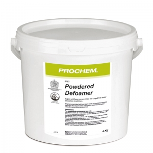 B2762A Prochem Powdered Defoamer - 4kg Economical powdered defoaming agent which can be pre-diluted and added into waste tanks, prior to extraction cleaning.Contains pure silicone anti-foam and inert ingredients.White moist powder.  4kg