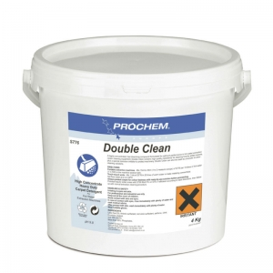 B2776 Prochem Double Clean A concentrated heavy-duty extraction detergent, formulated for optimum performance in cleaning heavily soiled carpets.Double Clean contains high quality anionic and non-ionic surfactants, alkaline builders and corrosion inhibitor.Blue powder with citrus mint fragrance.  4kg