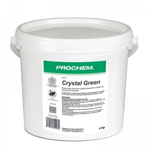 B2777 Prochem Crystal Green Prochems premium non-ionic carpet extraction detergent for spectacular results on tough, oily and greasy soils.Green powder with herbal lemon fragrance.  4kg