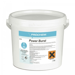 B2789 Prochem Power Burst Enzyme-free high performance alkaline detergent pre-spray for pre-cleaning heavily soiled commercial carpet.Ideal for greasy restaurant carpets and traffic lanes where there is a high build-up of grease.Can be pre-diluted for use in injection sprayers.White powder with floral fragrance.  4kg