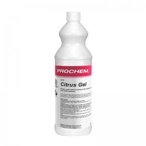 B2840 Prochem Citrus Gel A citrus solvent and detergent based liquid gel spot remover for oil, grease, tar, gum and other oily spots on carpet and fabrics.Citrus Gel can be used safely on many spots and stains and is formulated to work on the fibre surface avoiding problems to latex and bitumen backings which commonly occur with other citrus based solvents.White gel with citrus fragrance.  1lt