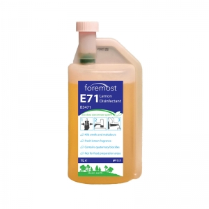 B3471 E71 Eco-Dose Lemon Disinfectant Concentrate 1 litre  Kills smells and malodours, leaves fresh lemon atmosphere. Contains a broad spectrum quaternary biocide. safedose, safe dose, safe-dose, concentrate system, v mix, v-mix, vmix, ultra-dose, ultra dose, evolution, chemical dilution system, multidose, accudose, eco-dose, ecodose, eco dose, environmentally friendly chemicals, eco chemicals, green chemicals 1lt