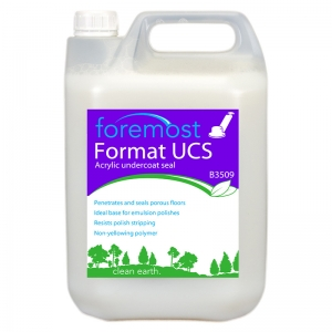 B3509 Format UCS Undercoat Seal Acrylic  Non-yellowing polymer film. Does not discolour even the lightest floor. Penetrates and seals porous floors, provides an ideal base for emulsion application. Resistant to polish strippers. Selden, A008, A08, Selseal acrylic base coat seal, crylceel 5lt