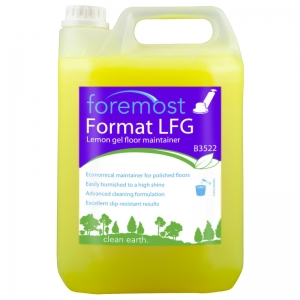 B3522 Format LFG Lemon floor gel - polymeric waxbased  Made from natural citrus oils and vegetable oil derived emulsifiers to be environmentally friendly. Ideal damp mopping solutions for all surfaces. Economical maintenance for polished floors - will not remove or dull polish film at recommended dilution Readily burnished to a slip resistant shine. Perfect for spray cleaning. Removes dirt and heel marks with ease. Selden, B006, B06, Lemon jell, lemon gel, 5lt