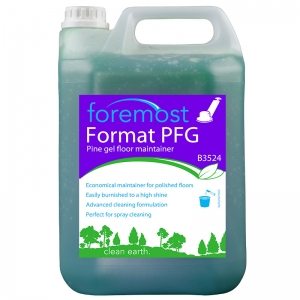 B3524 Format PFG Pine floor gel - polymeric waxbased  Ideal damp mopping solution for all surfaces. Economical maintenance for polished floors - will not remove or dull polish at recommended dilution. Perfect for spray cleaning. Removes dirt and heel marks with ease. Selden, B003, B03, pine gel, pine jell 5lt