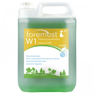 B3946 W1 Washroom Cleaner and Descaler - bulk refill  R.T.U. trigger spray refill. Mildly acidic to remove scale build up when used on a regular basis. Pleasantly fragrant in use. Safe for use on ceramics. the one range, the 1 range, washroom spray, bathroom cleaner, T02, T002, selden, foaming washroom cleaner, foaming sanitiser, foamy bathroom cleaner 5lt