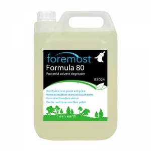 B5024 Formula 80 solvent degreaser  Heavy duty formula . Strong powerful action rapidly cuts through grime and dirt, strips polish from floors. Removes grease and grime build up in heavy industry and kitchens. Controlled foam, no excess lather to rinse away. strongarm, F040, F40, Selden,zf040 5lt