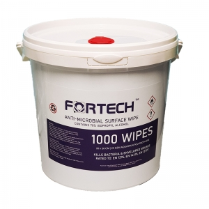 B8006 Fortech 70% alcohol wet wipes in bucket 1000sh 20x20cm EN 14476 Approved to EN 14476, EN 1276 and EN 13727