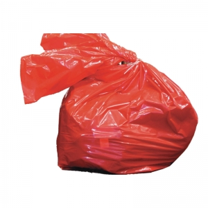 Red laundry sacks with soluble strip 50 litre 18x28x30 (457x711x762mm)