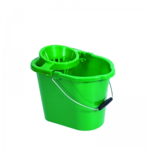 Plastic strainer type mop bucket Green