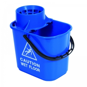 Professional 15lt mopstrainer bucket with safety msg Blue