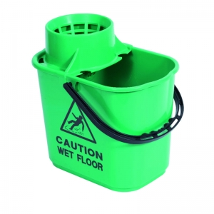 Professional 15lt mopstrainer bucket with safety msg Green