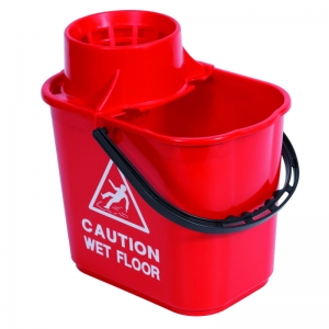 Professional 15lt mopstrainer bucket with safety msg Red