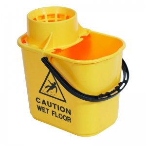 Professional 15lt mopstrainer bucket with safety msg Yellow