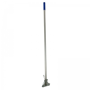 Kentucky aluminium mop handle with steel clip, blue grip