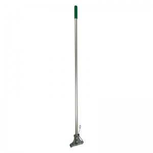 Kentucky aluminium mop handle with steel clip, green grip