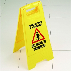 Male / Female cleaner in attendance wet floor sign