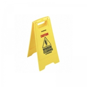 Window cleaning in progress yellow safety sign