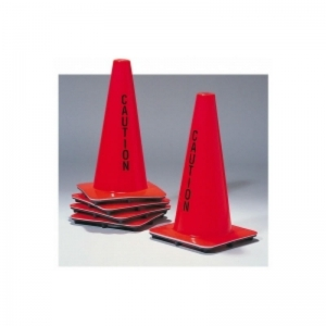 "Orange round Dayglo safety cone 18"" high"