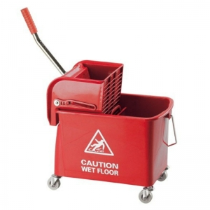 Flat mopping bucket & side-press wringer red