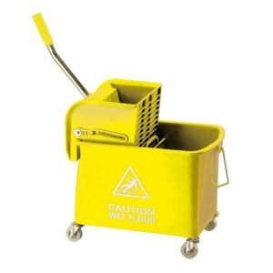 Flat mopping bucket & side-press wringer yellow