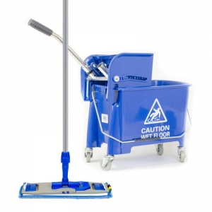 Blue flat mop kit contains bucket, frame, head and handle