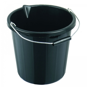3 gallon black plastic heavy duty bucket round