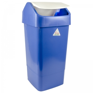 50lt plastic swing top bin with lid blue