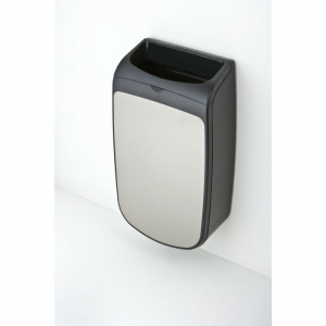 Mercury black / silver 25 litre washroom bin