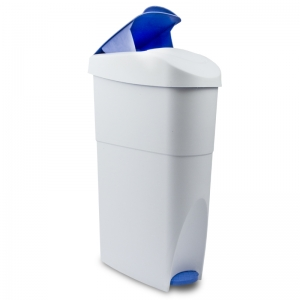Feminine hygiene bin foot operated wipe clean surface