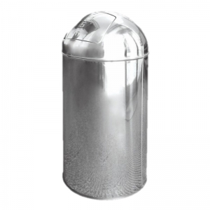 Stainless steel bullet push top bin 40 litre