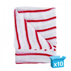 Striped stockinette dishcloths Red