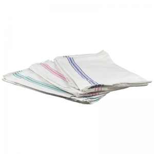 White cotton tea towels with coloured stripe