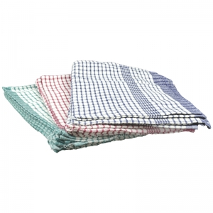 Textured rice weave tea towels with coloured check